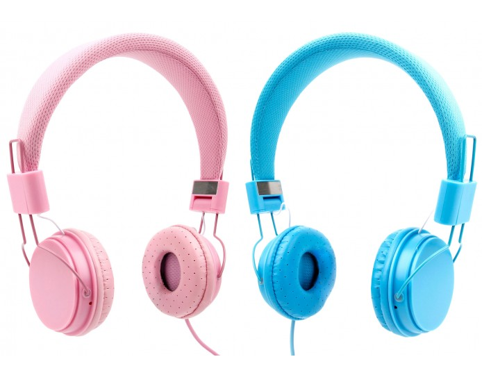 Cushioned Children S Headphones In Blue Or Pink With 3 5mm