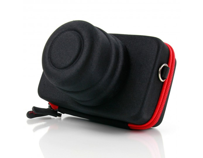 Shock-Resistant Hard Shell Camera Case in Black & Red