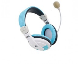 Padded Blue & White PC Headphones with Microphone